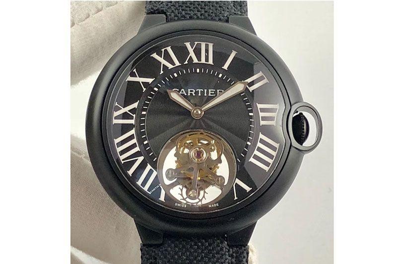 Cartier Ballon Bleu 42mm DLC Tourbillon Black Dial