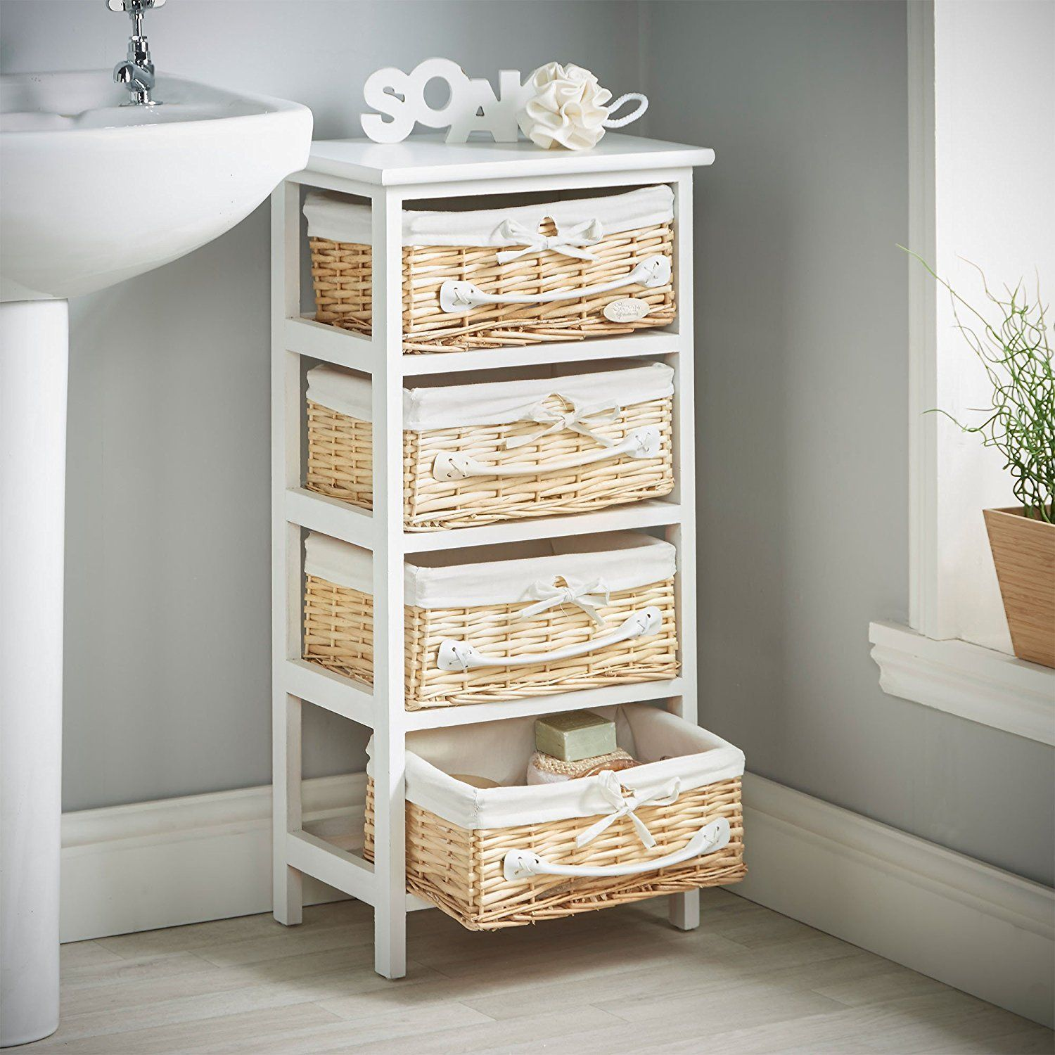 Vonhaus 4 Drawer Unit Wicker Basket Storage For Bedroom Or Bathroom White Amazon Co Uk Kitche Bathroom Storage Units Wicker Baskets Storage Drawer Unit