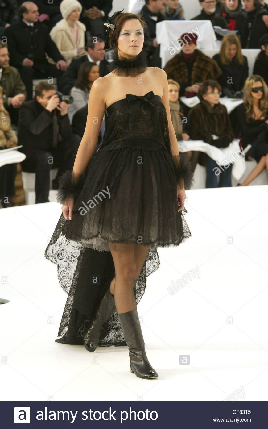 Theme Brunette black lace dress quite