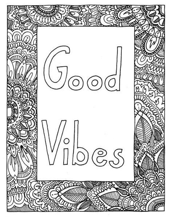 Good Vibes Coloring Page Coloring Book Page Printable Adult