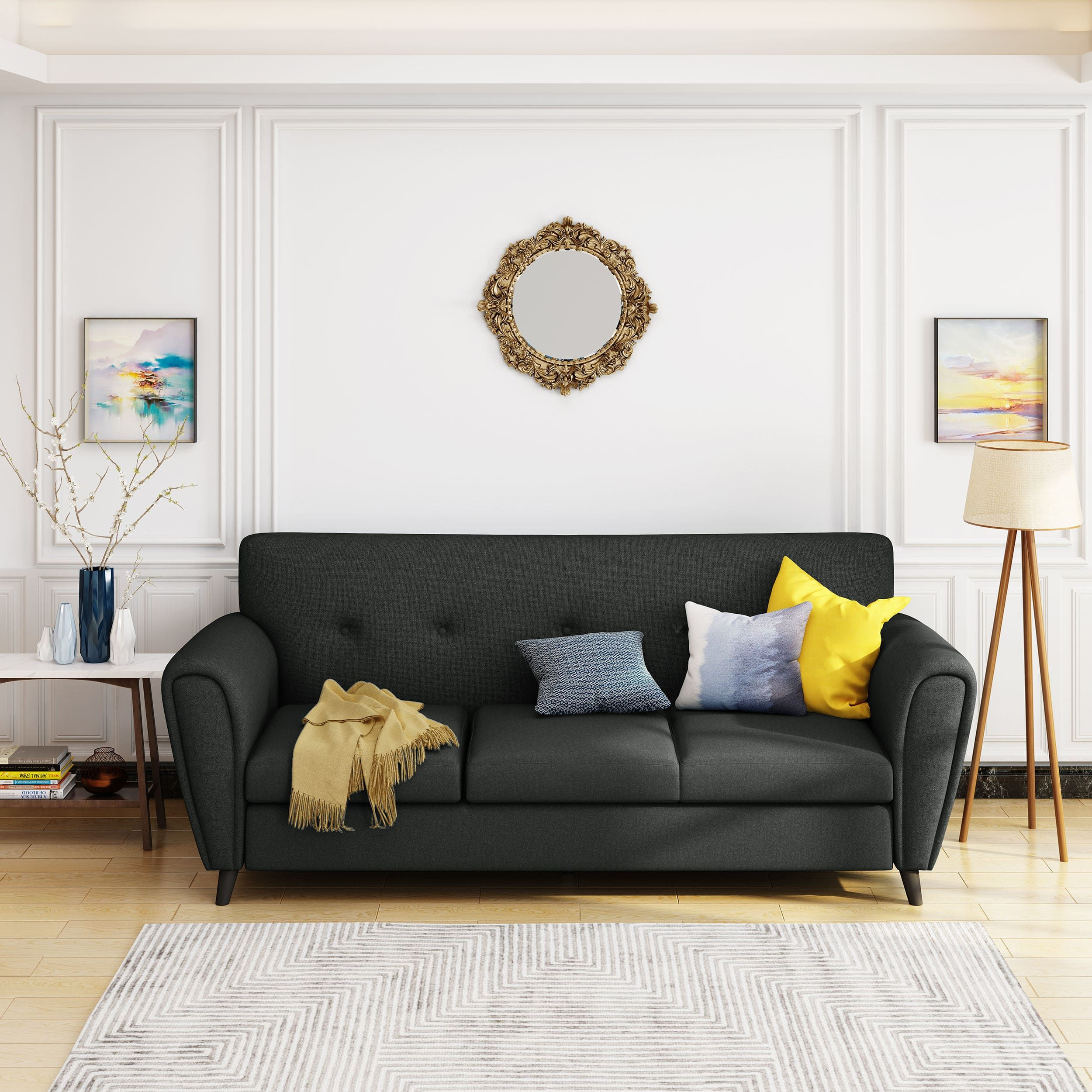Emiliana Buttoned Fabric 3 Seater Sofa By Christopher Knight Home Navy Blue In 2020 Living Room Sofa Living Room Furniture Traditional Sofa