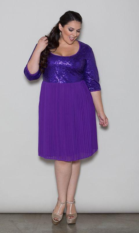 tracey sequin dress - purple trendy curvy | plus size fashion