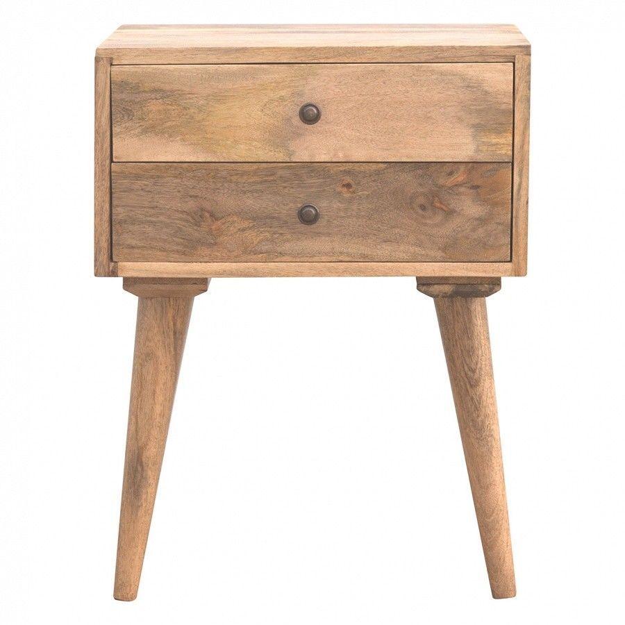 2 drawer bedside table oak finish mango wooden storage living room furniture