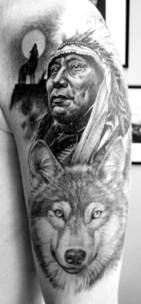 indian chief and wolf tatoo tatouage tatouage indien et tatouage loup. Black Bedroom Furniture Sets. Home Design Ideas