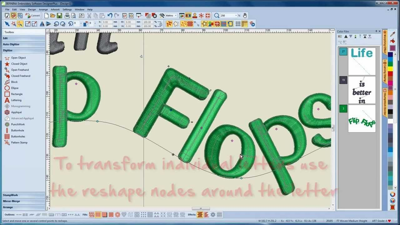 How to work with lettering and fonts in Bernina Editor V7