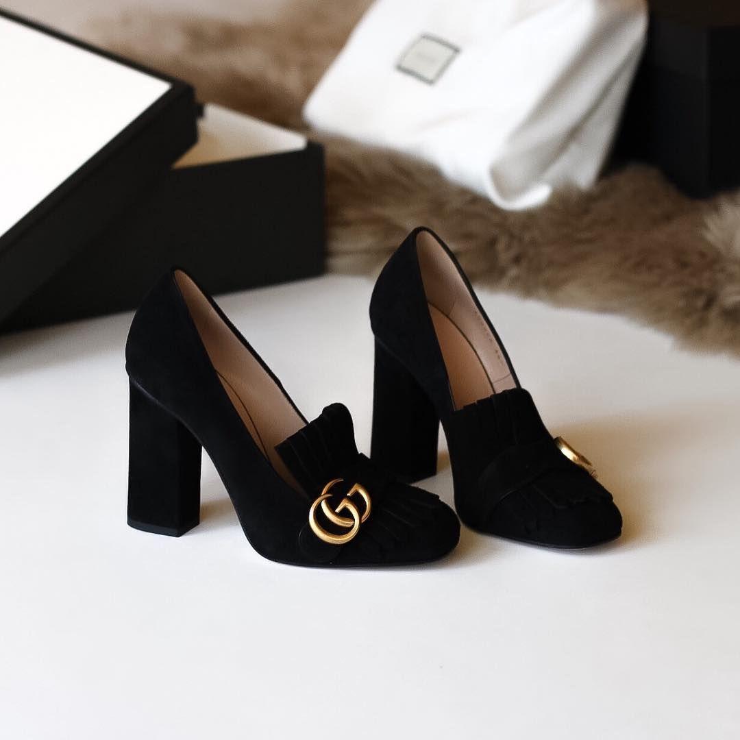 Gucci 'Marmont' black suede pumps