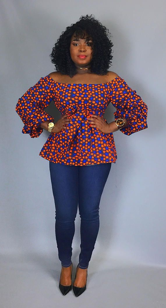 2d4b40d18d8c African print off shoulder top with sash ,African clothing,women s ...