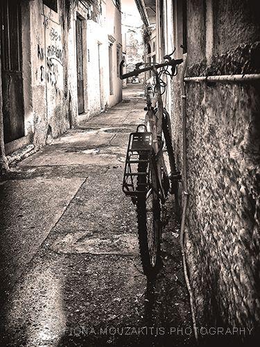 Bicycle in the back street corfu greece