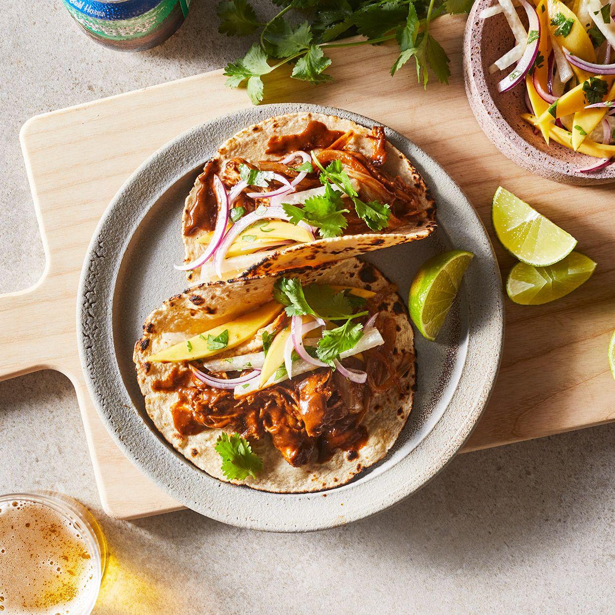 Chicken Mole Tacos With Mango Jicama Slaw Recipe Eating Well Recipes Chicken Mole Jicama Slaw