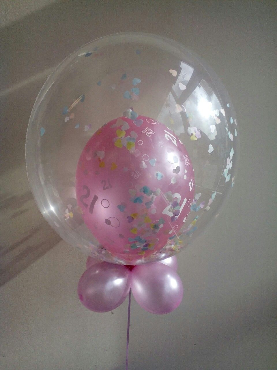 Baby pink 21st with pastel confetti bubble