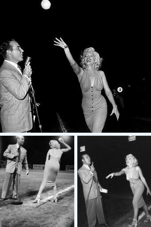 Marilyn Monroe Throwing A Pitch At The Out Of This World Series Charity Baseball Game 1952 Marilyn Monroe Famous Movies American Actress