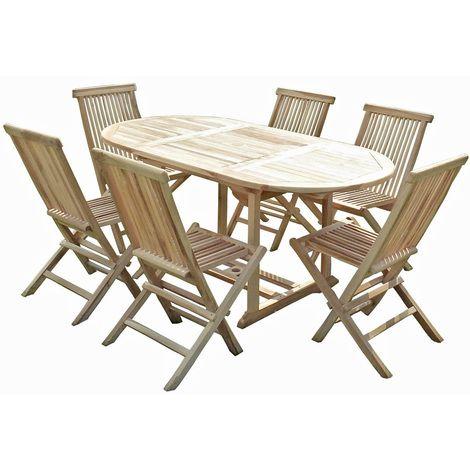Ensemble salon de jardin en teck SOLO 6 chaises | boron | Pinterest ...