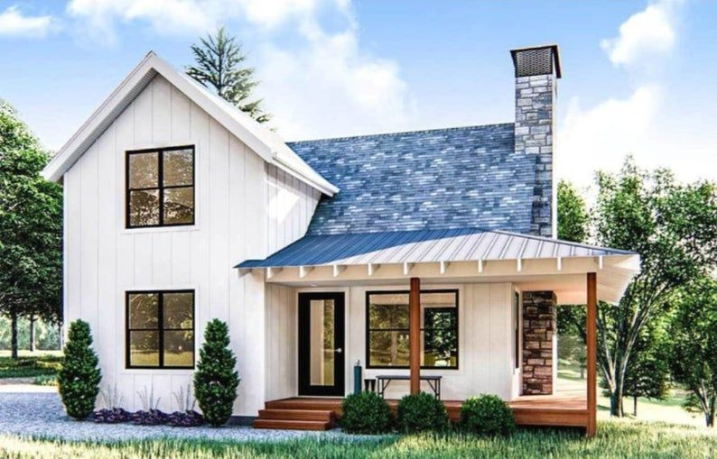 Farmhouse style cabin | covered porch | pack 10 house in PDF file – house plans – Floor Plan IDEAS instant download – Interior Design