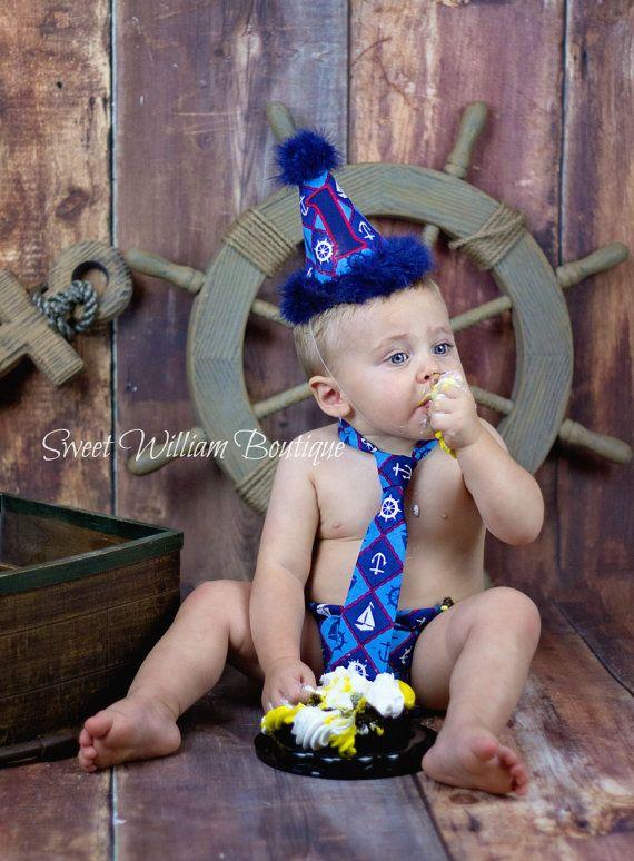 Nautical Cake Smash Set Boys 1st Birthday Hat By SweetWilliamBaby