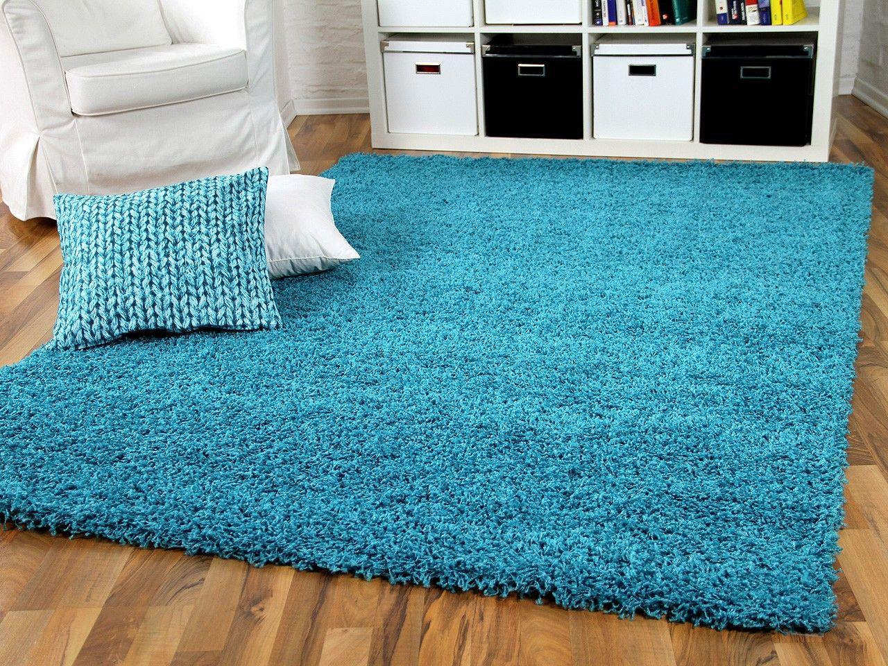 Hochflor langflor shaggy teppich aloha türkis teppiche hochflor