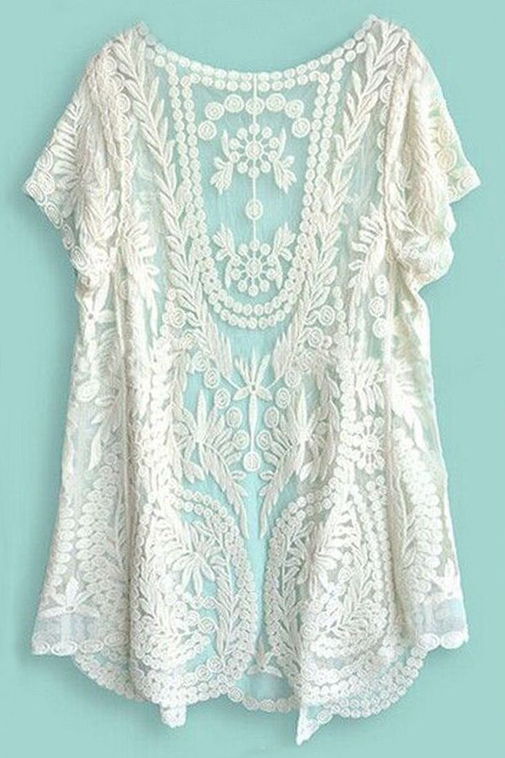 Charming Women's Short Sleeve Crochet Net Lace Cardigan | Clothes ...