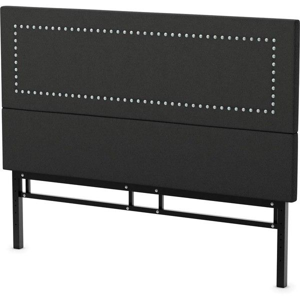 Amisco Crossway 60-inch Upholstered Queen Headboard ($430) ❤ liked on Polyvore featuring home, furniture, beds, black, black headboard, black fabric headboard, black upholstered headboard, queen adjustable bed and upholstered headboard