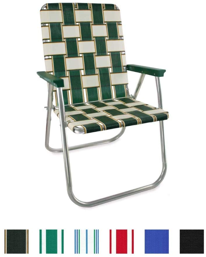 Amazon Com Lawn Chair Usa Webbing Chair Classic Charleston With Green Arms Kitchen Dining Lawn Chairs Folding Beach Chair Chair