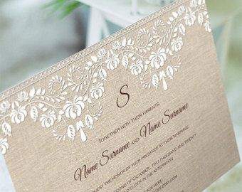 Invitation Template Word Beauteous Burlap And Lace Invitation Template Diy Wedding Invite Instant .