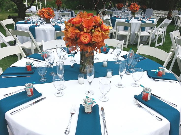 Dark Teal And Orange Wedding Reception Outdoor