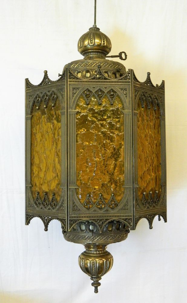 Amber Glass Shade Brass Vtg Hanging Lamp Swag Slag Octagon Light Gothic  Medieval