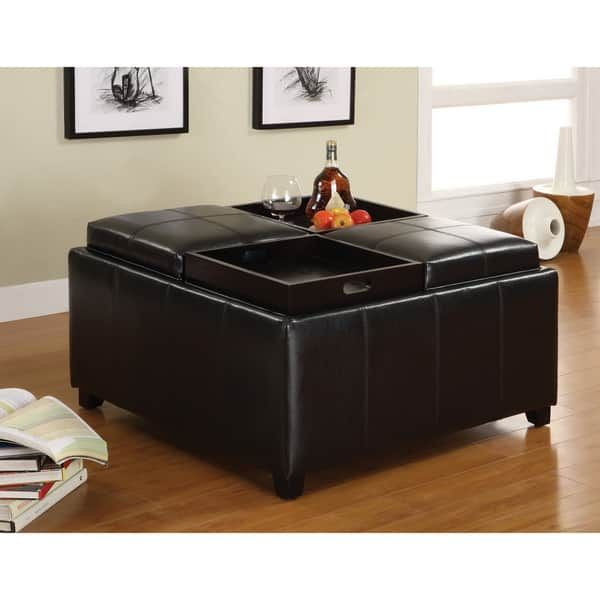 Furniture of America Espresso Storage Ottoman with Four Food Trays ...