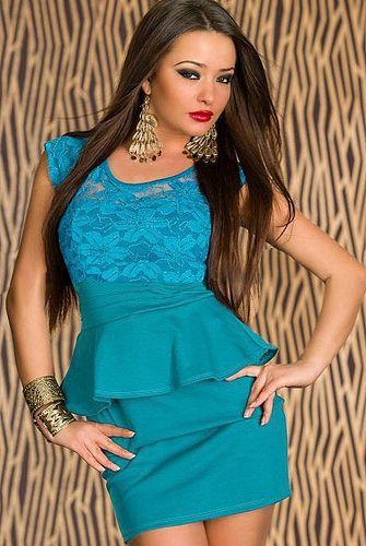 Dear-Lover Sunflower Lace Cut-out Back Peplum Dress Blue