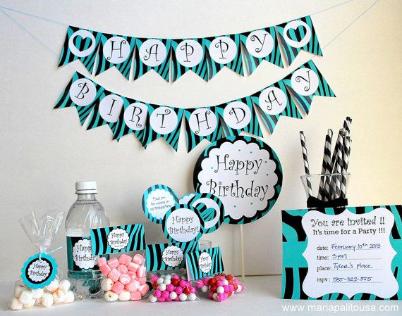 Zebra PRINTABLE Party Birthday Package Black and by Mariapalito
