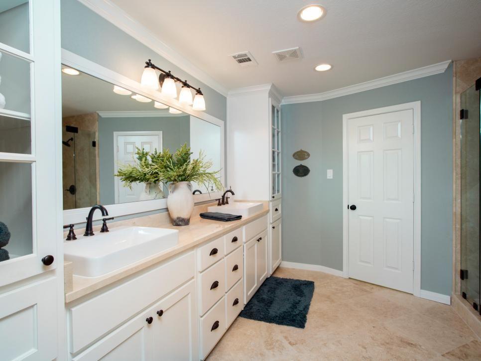 Fixer upper 39 s best bathroom flips calming colors glass for Updated bathrooms designs