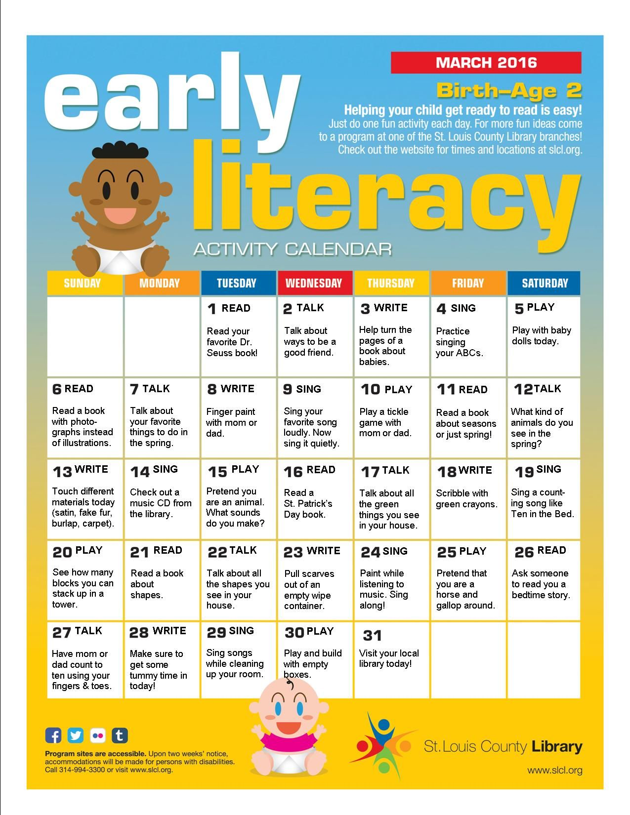 Babies Early Literacy Activities Calendar For March