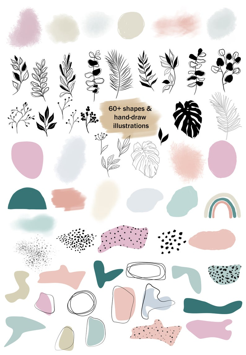Modern smooth abstract shapes digital clipart set