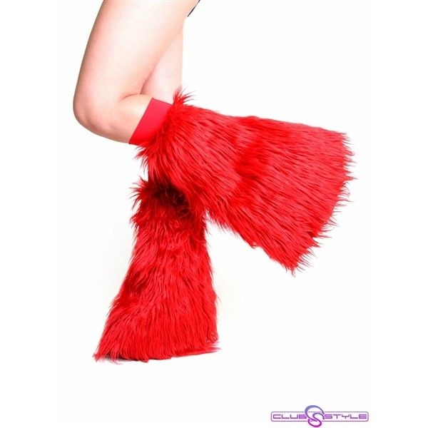 Clubstyle Clothing Red Fluffies : Quality Fluffy Leg Warmers ($7) ❤ liked on Polyvore featuring intimates, hosiery, socks, red leg warmers and red hosiery