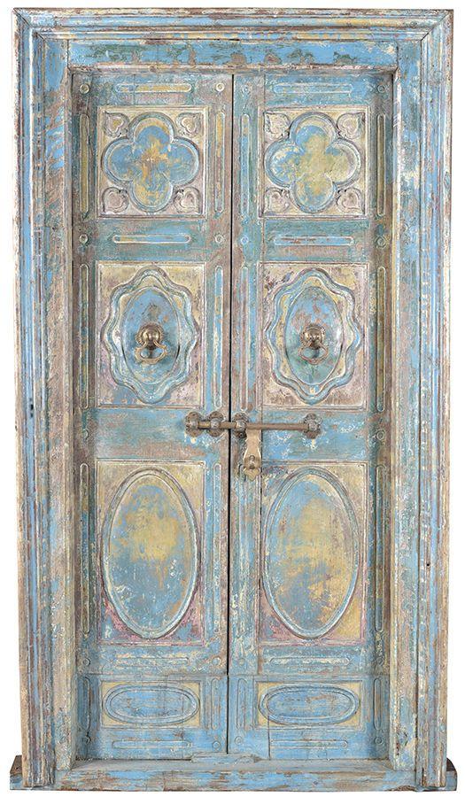- Stunning Carved Antique Ornate Wood Blue Door W/Frame,52'' X 94''H