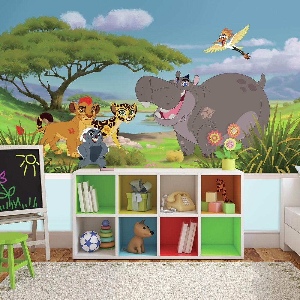 72 in W x 126 in H Lion Guard XL Chair Rail 7 Panel Prepasted Wall