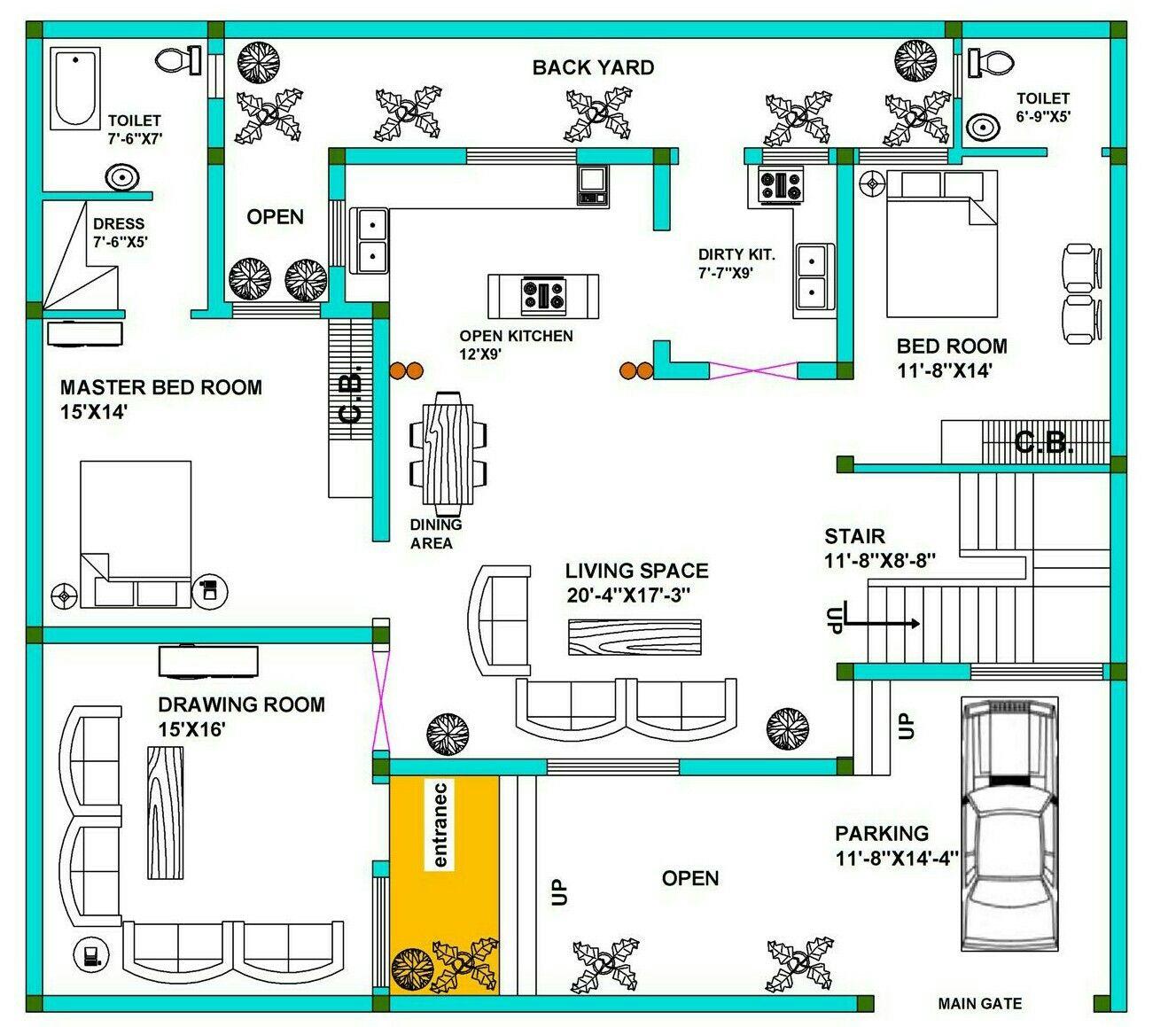50x45 house plan Desing by Abhishek Shrivastava 20x30