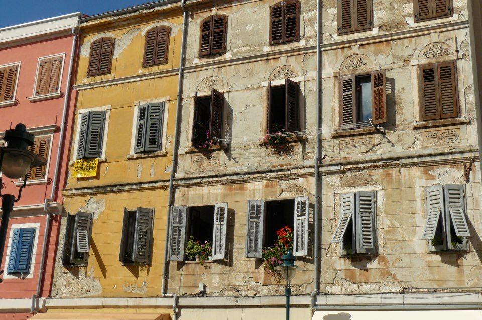 Croatia, Rovinj... old houses facades