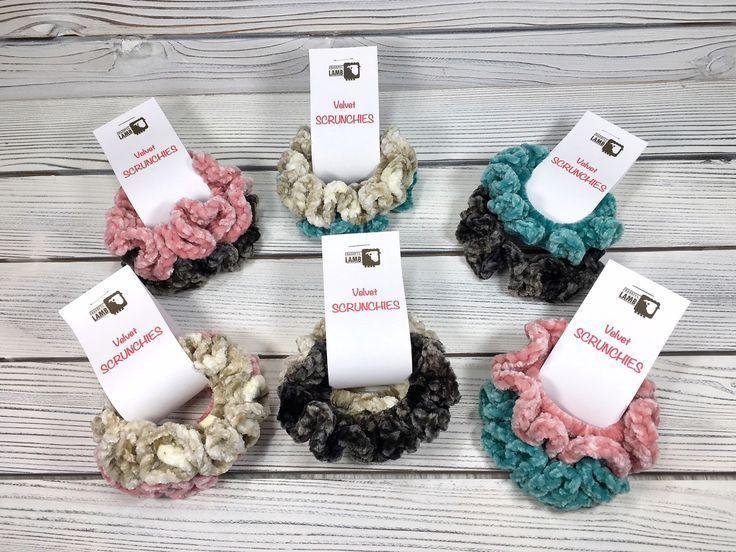 2-Pack Velvet Hair Scrunchies Crochet Velvet Hair Ties Hair Elastics Black Scrun...  - Hair Scrunchies -