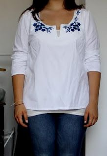 9937da1889 fehér blúz torockói népi hímzéssel/ plain white shirt with folk embroidery  in