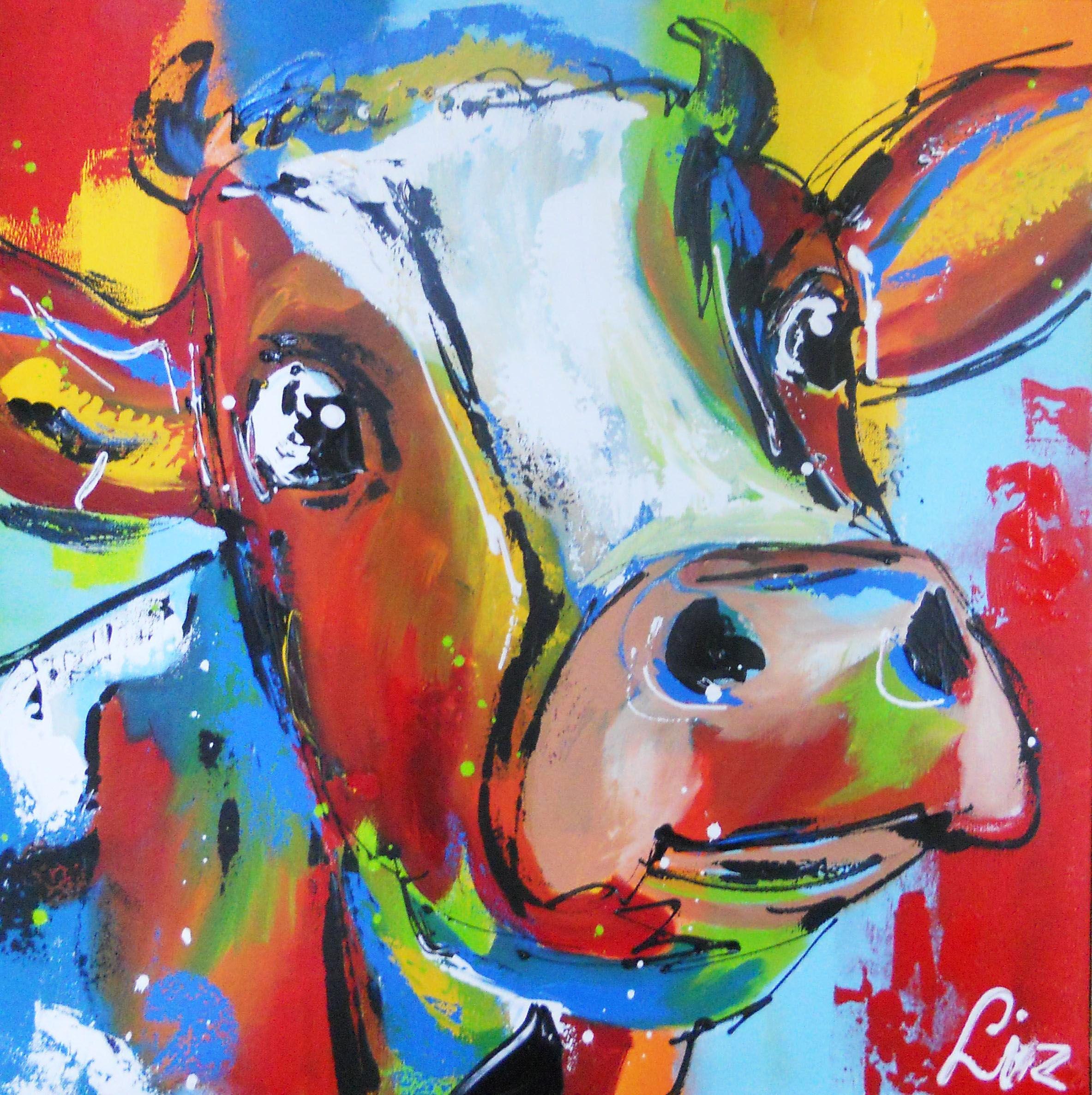 verbaasde koe surprised cow handgeschilderde koeien op canvas hand painted cows on canvas. Black Bedroom Furniture Sets. Home Design Ideas