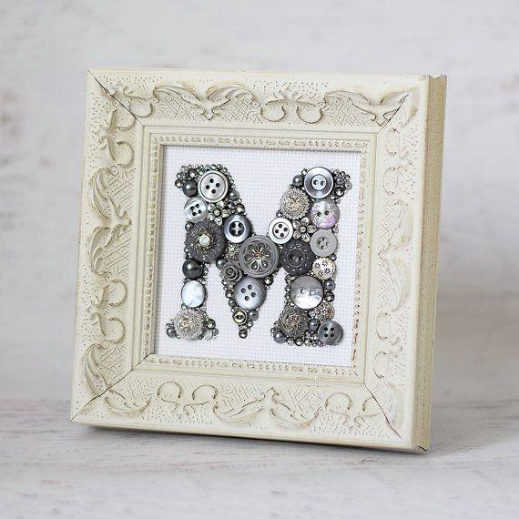 Custom Gray and Silver Framed Monogram Letter Button Art - Wedding ...