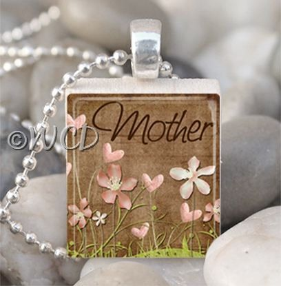 Mother flowers brown scrabble tile necklace mothers day ideas mother flowers brown scrabble tile necklace aloadofball Choice Image
