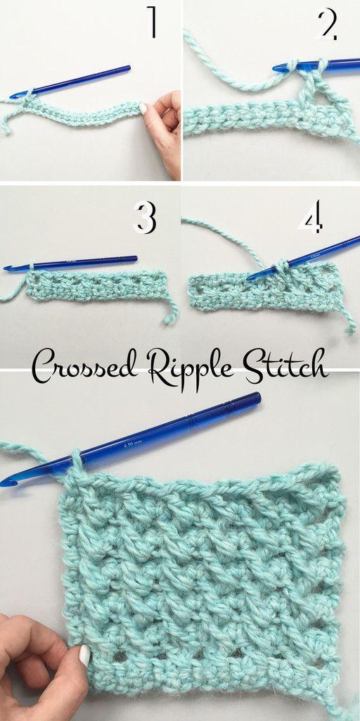 Stitch Academy // Crossed Ripple Stitch | Puntadas, Tejido y Ganchillo