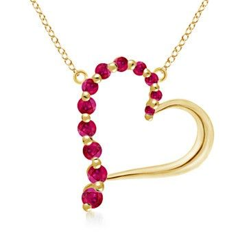 Angara Round Ruby and Diamond Circle Journey Necklace in Yellow Gold 3DD4fRs