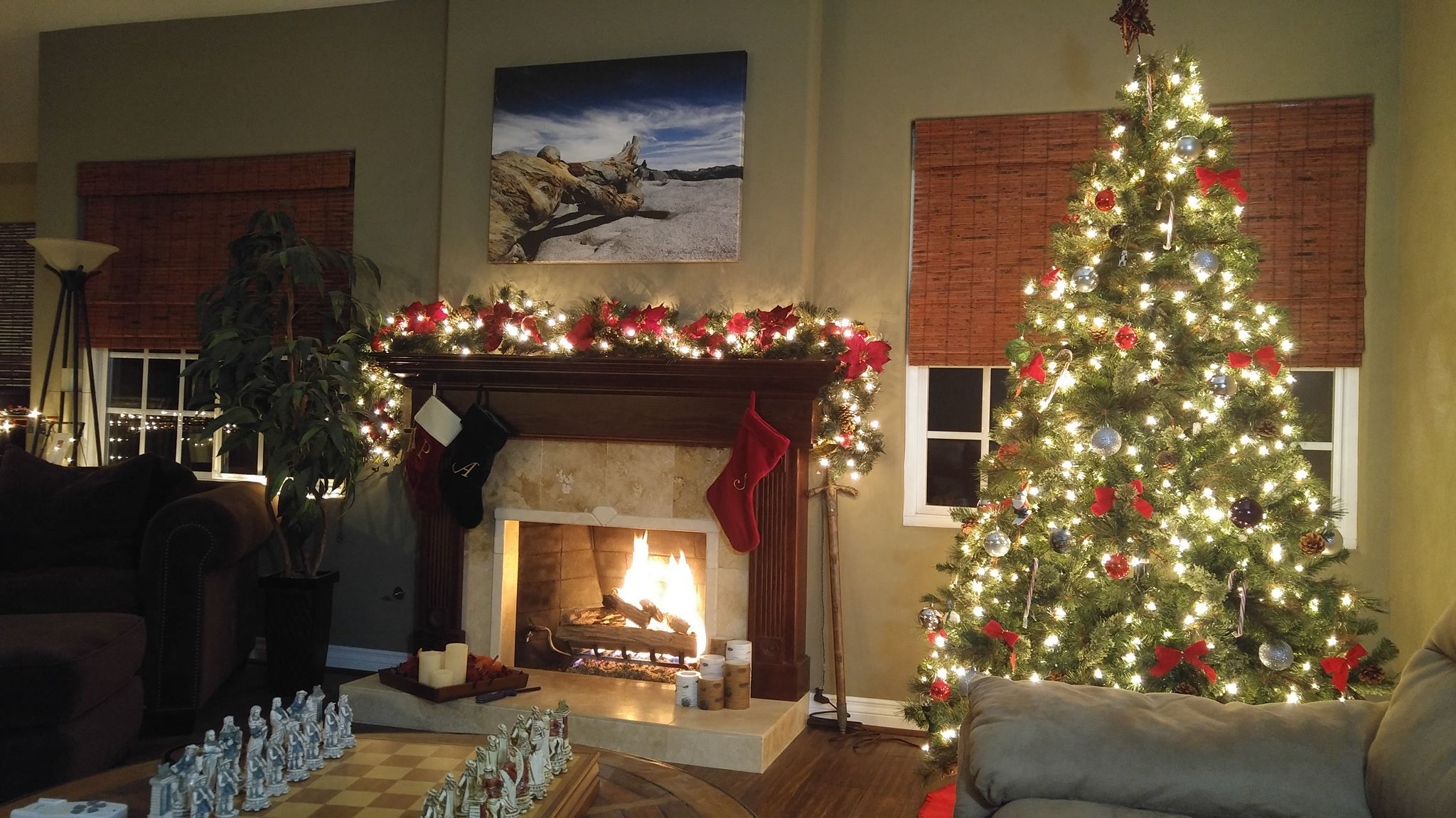 Beautiful Christmas Tree And Fireplace With Chess Set Photo By