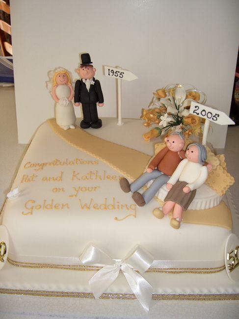 10 Increíbles Decoraciones De Tortas Para Bodas Oro Golden Anniversary Cake50th