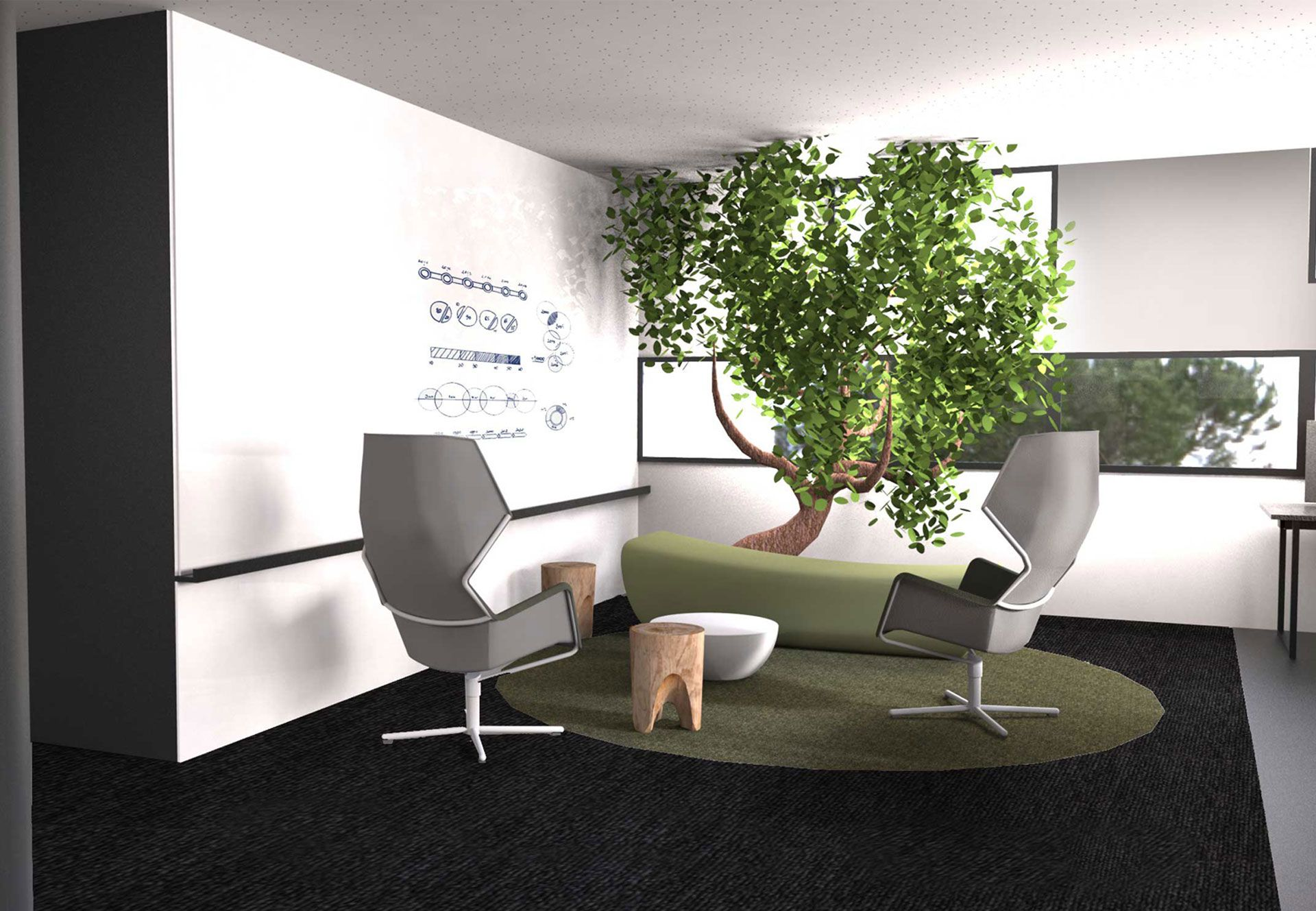 Pravda stand design design bureaux open space espace for Amenagement espace detente entreprise
