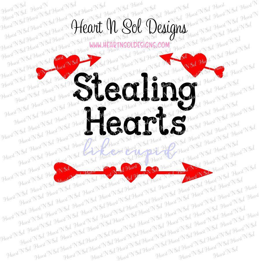 Valentines Valentine Love Cupid Stealing Hearts Heart Svg Eps
