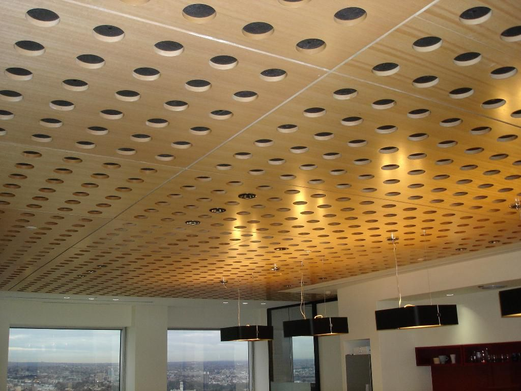 Acoustical Wood Veneer Ceiling Panels Basement Stufff