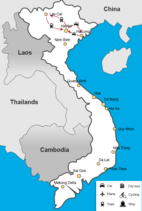 Northern Vietnam Map.Northern Vietnam Itinerary If You Want To Admire The Moutain The