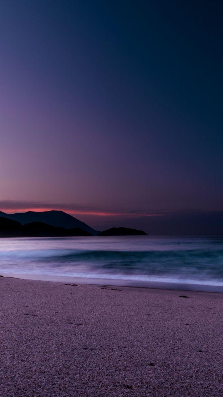 Calm Beach Purple Sunset 720x1280 Wallpaper In 2020 Beach